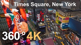 360°, Times Square, New York, USA, 4K aerial video thumbnail
