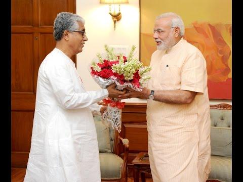 Tripura CM Manik Sarkar calls on PM Narendra Modi