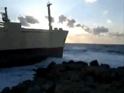 Ship sierra leone Cyprus, Paphos, Pegia  after storm