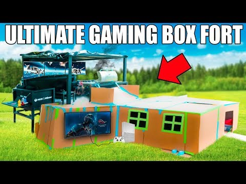 ULTIMATE TWO STORY GAMING BOX FORT!!  XBOX, Couches,Surround Sound, Flatscreens BQQ & More!!