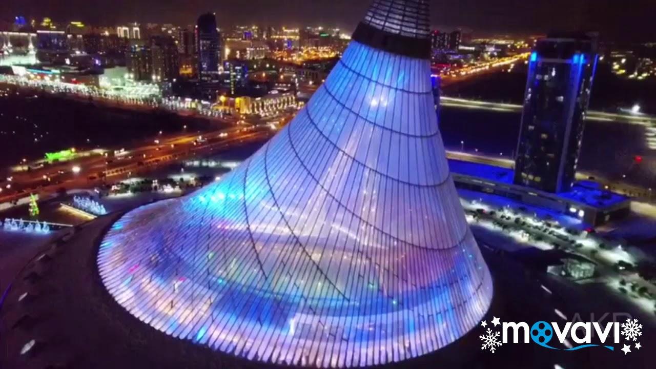 Ночная Астана с высоты птичьего полета.  The night view of the Astana city. Kazakhstan.