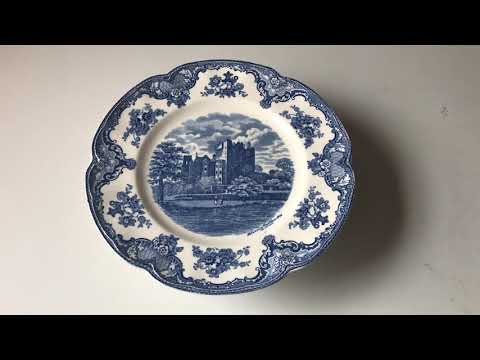 Blue And White China Johnson Bros England Olde Castle Plate