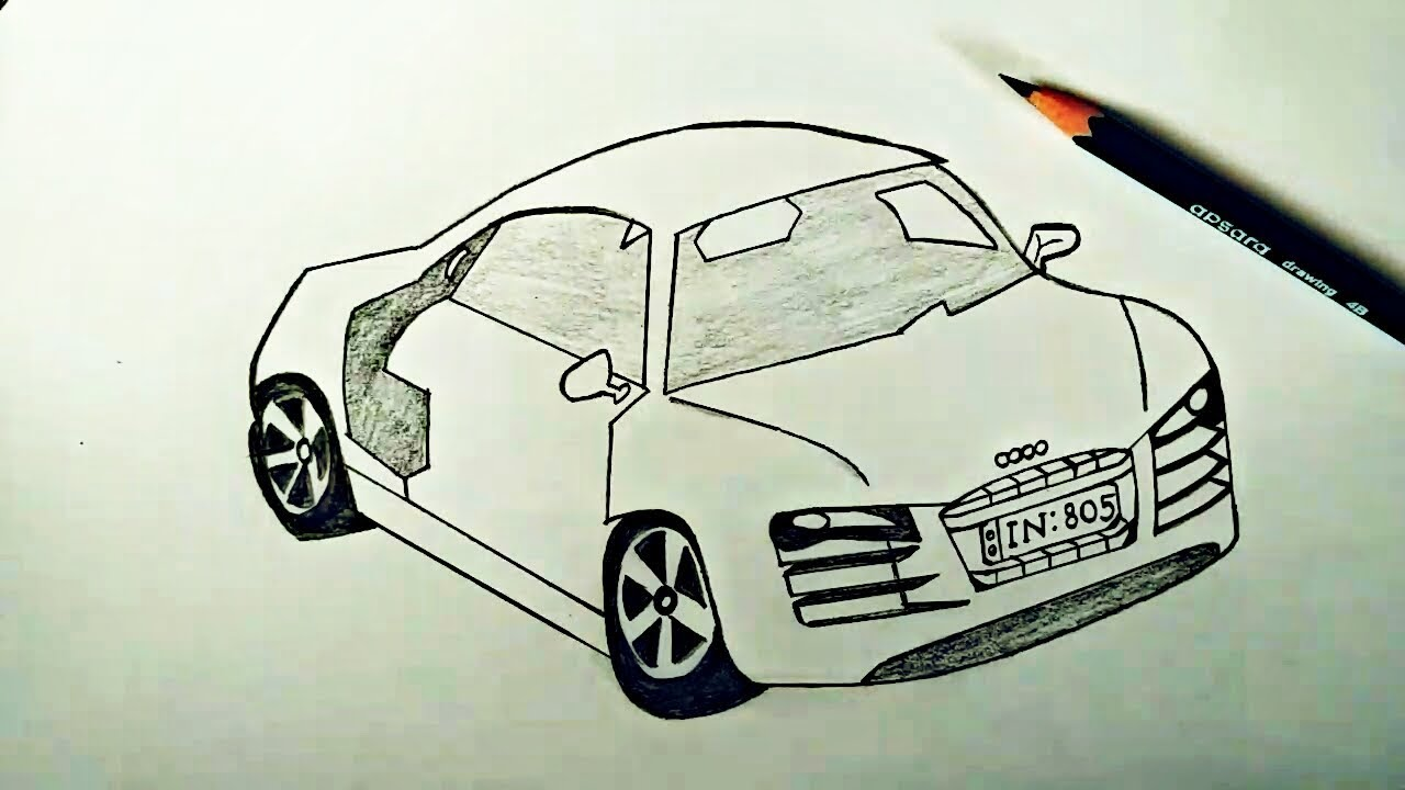 How To Draw Audi Car Sketch Tutorial In Simple Easy Step By Step For