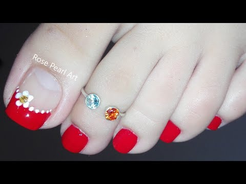 Red Flower French Pedicure Nail Art Tutorial- DIY Toe Nail Art  Designs for Beginners | Rose Pearl