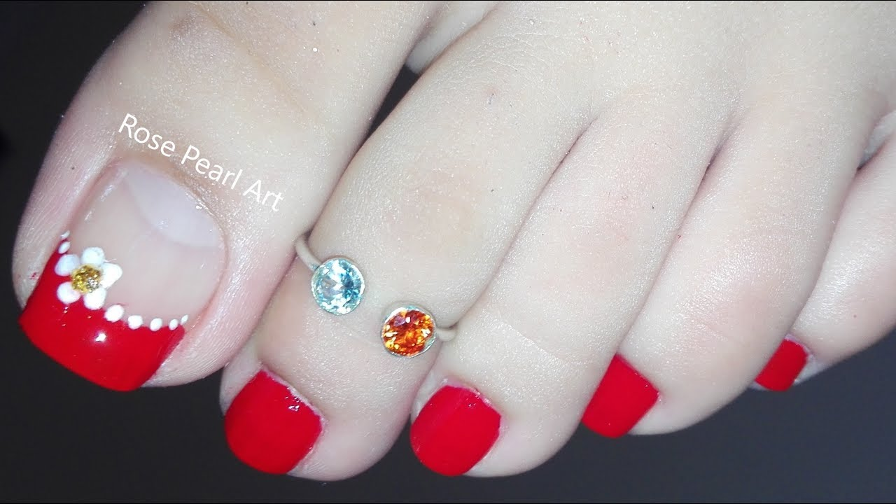 red flower french pedicure nail