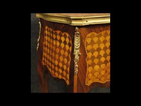 Coppia di comodini francesi intarsiati in stile Luigi XV - YouTube