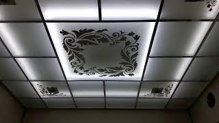 стеклянный потолок с зеркальным рисунком,  с внутренней светодиодной подсветкой