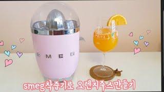 스메그( smeg)착즙기로 오렌지주스 만들기