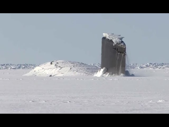 Giant Submarine Breaks Through Ice