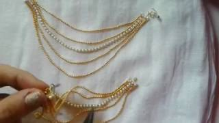 Bridal Accessories : Ear Chains / Champasaralu making at Home using Gold Ball Chain | Tutorial