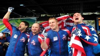 2010 Men's Bobsled Gold Medal Moment: Driver Steve Holcomb and team bring home gold