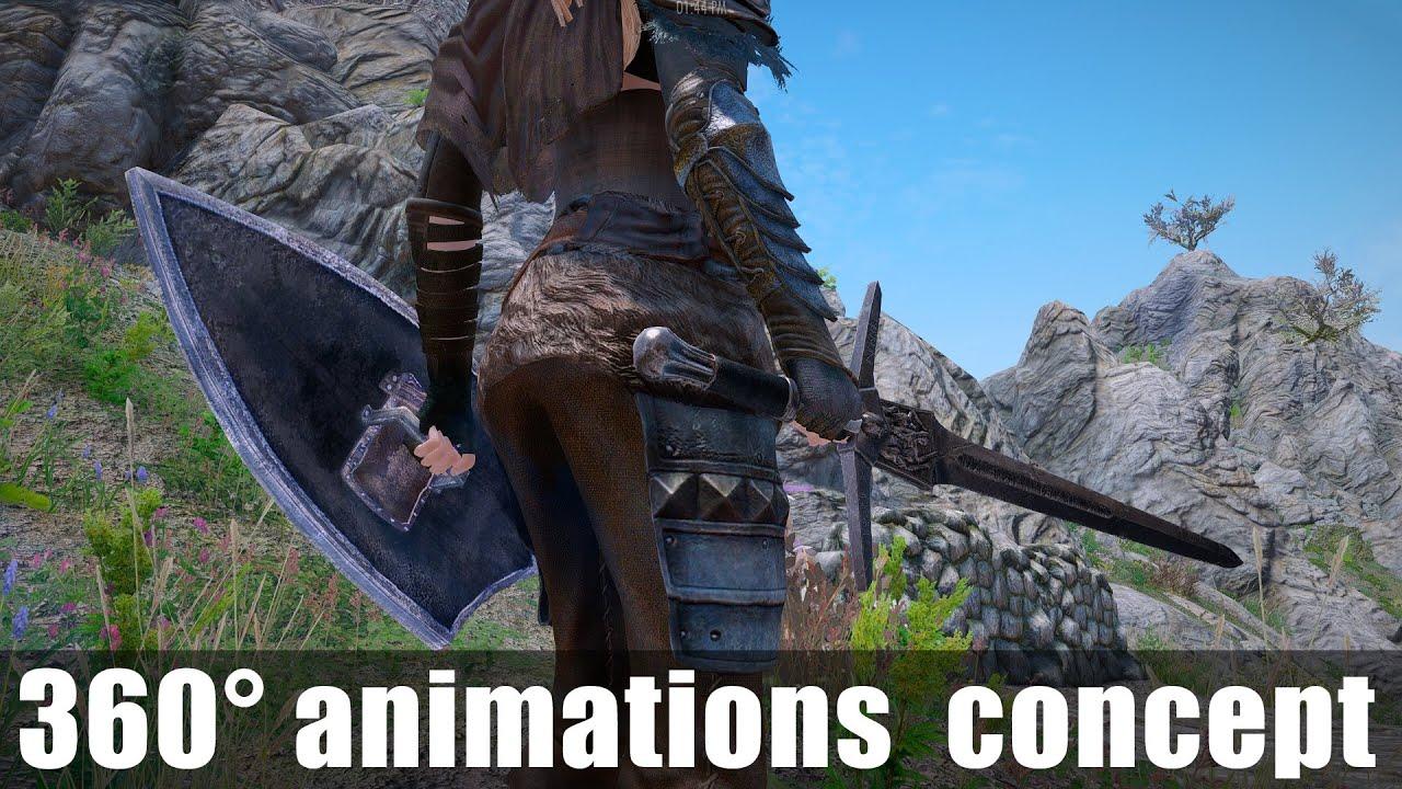 Skyrim Mod Showcase: 360 degree animations concept