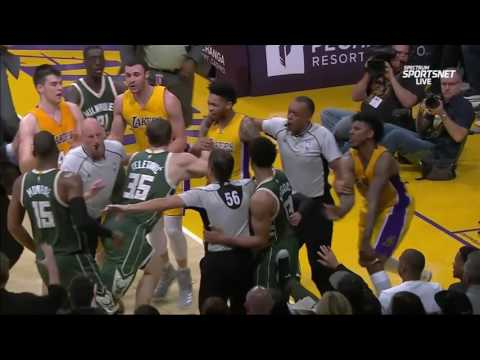 Multiple Players Ejected After Hard Foul! | Bucks Vs Lakers | March 17, 2017 NBA Regular Season