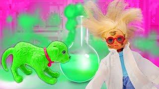 Штеффи проводит опыты с Таффи - Барби и Кен в ШОКЕ! Смешные видео для девочек