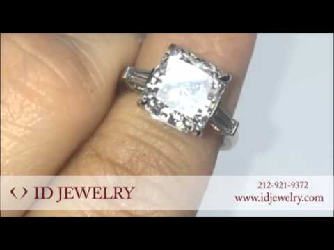 4 ct Radiant Cut Diamond Ring with Baguette Cut Diamonds Side Stones in Platinum
