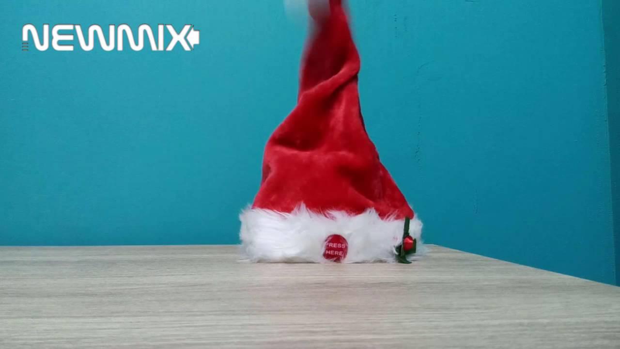Touca De Natal Chapeu Gorro Do Papai Noel Com Movimento Som - YouTube 0c5d5a33786