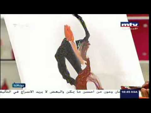 Live show painting on MTV lebanon channel by artist darine semaan