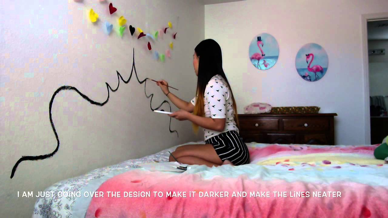 Diy paint a headboard on your wall youtube for Painted on headboard
