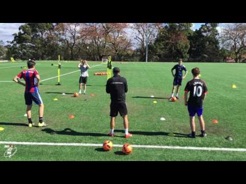 4 players, 4 coloured boxes, loads of different drills - Joner 1on1