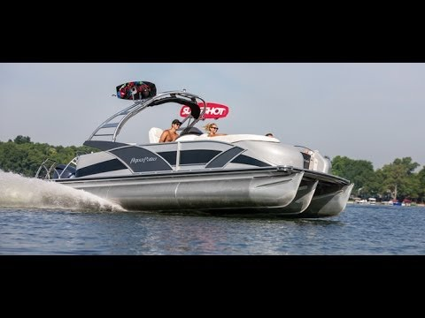 godfrey pontoon boats aqua patio 250 express xp performance rough salt water triple toon youtube - Aqua Patio