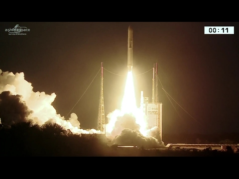 Sunset Launch of Ariane 5 with Satellites for Brazil & Indonesia