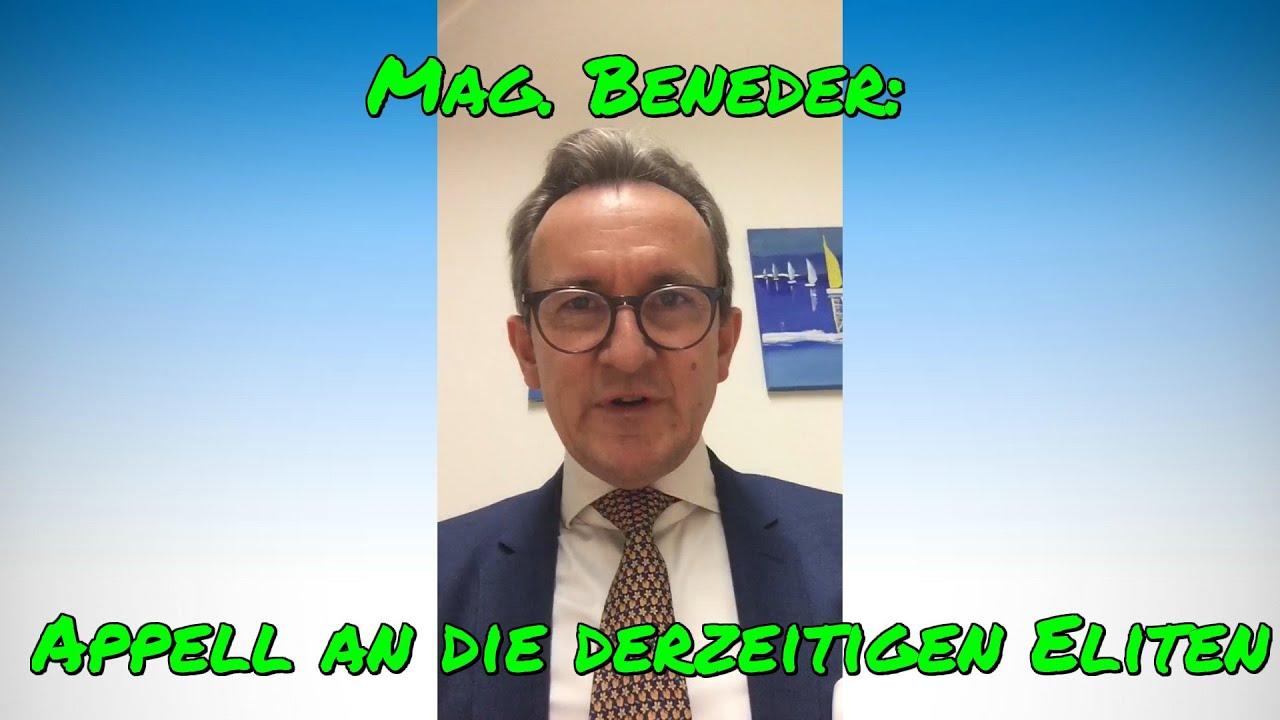 Mag. BENEDER: Appell an die derzeitigen Eliten, zur Normalität zurückzukehren