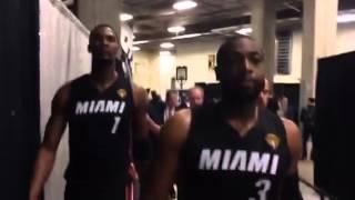 Dwyane Wade goes to the locker room