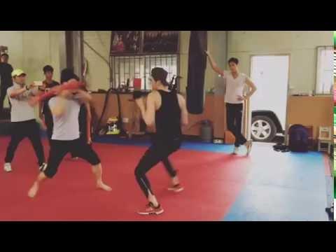 "June 112016 Leejongsuk practicing for "" W Two Worlds"" Fight Scene"
