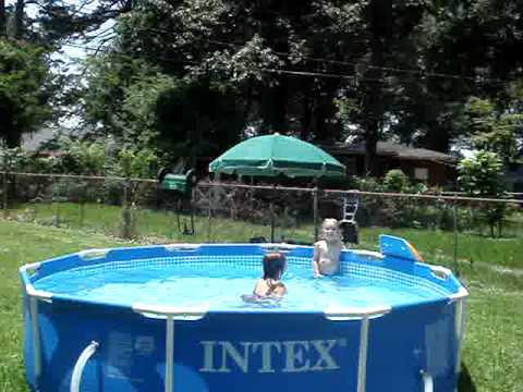 Intex backyard pool party youtube for Garden pool party