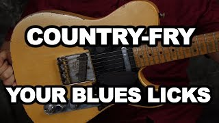 Country Fry your blues licks guitar lesson with FREE Jam Tracks