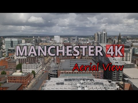 Ultra HD 4K Manchester Travel UK Tourism Aerial View England Tourist Sights UHD Video Stock Footage
