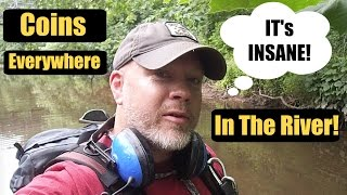 Coins Everywhere in The River! #Metal Detecting
