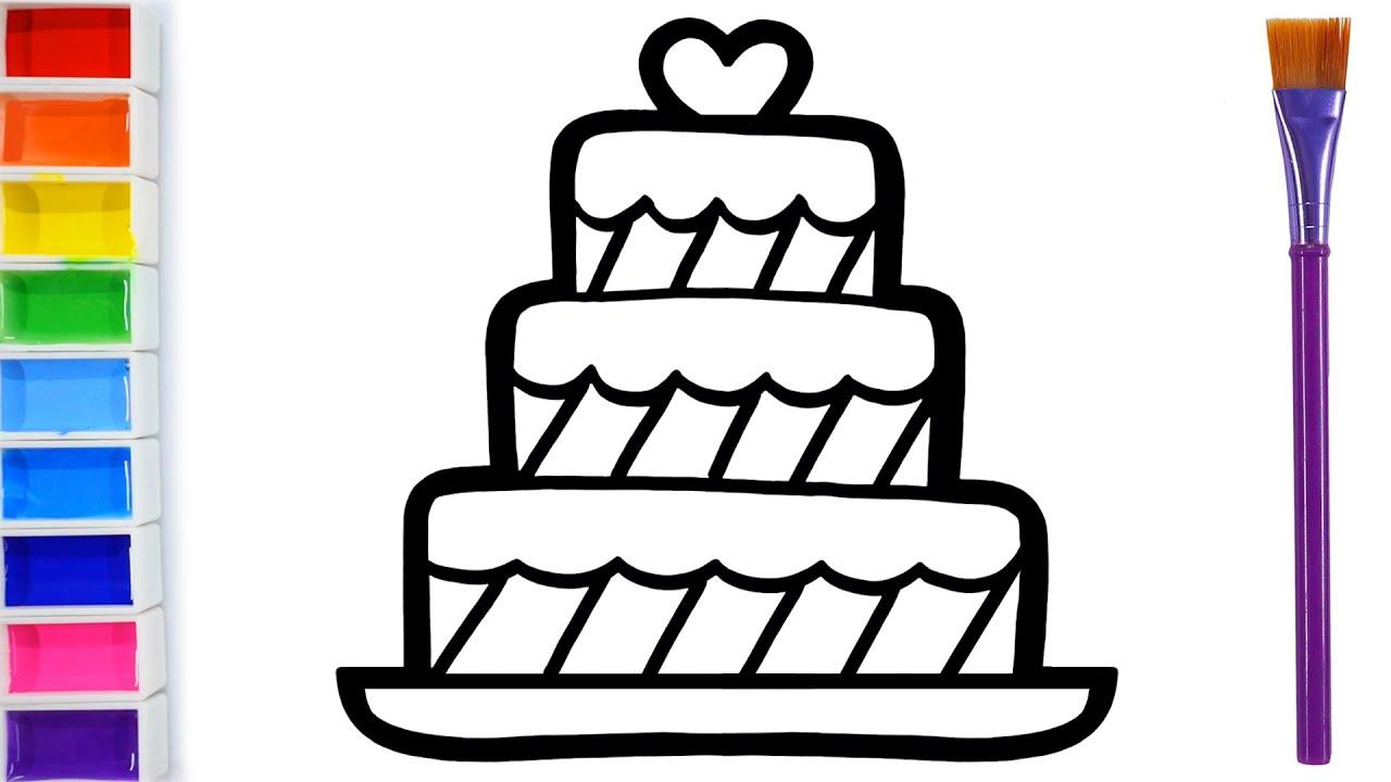 How to draw a birthday cake for children Warna Warni Belajar Menggambar dan Mewarnai untuk Anak #5