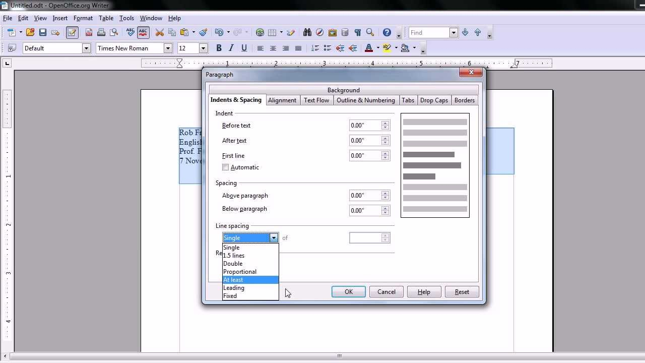 mla format open office template