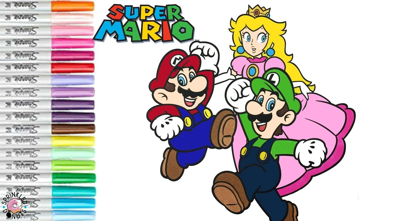 Super Mario Bros Coloring Book Page Mario Luigi Princess Peach