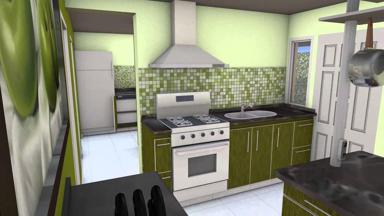Sala de Estar Lavadero y Cocina  Animacin y Render 3D