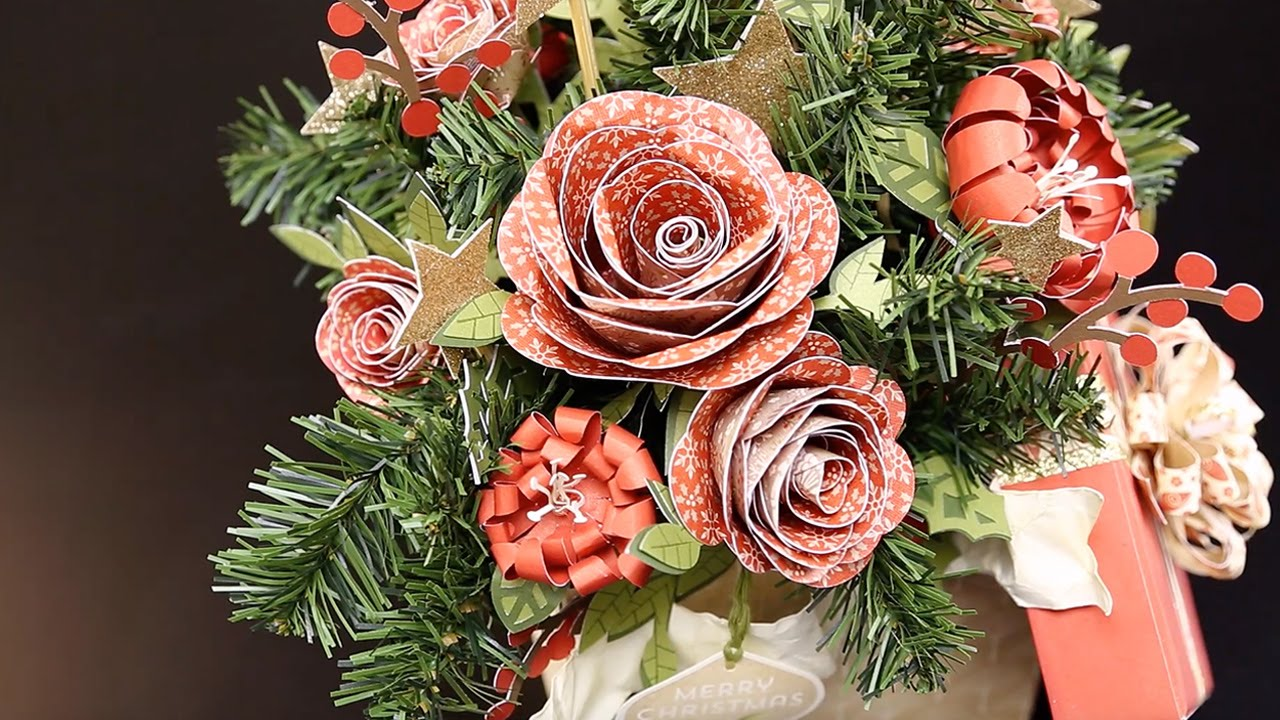 How To Make Paper Flowers For A Christmas Centerpiece Youtube
