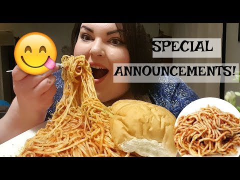 LOADS OF SPAGHETTI MUKBANG (EAT WITH ME) AND SPECIAL ANNOUNCEMENTS!