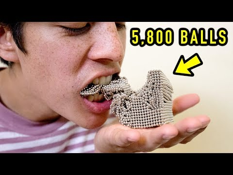 BITING INTO 5,800 MAGNET BALL CUBE (SATISFYING)