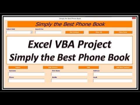Excel VBA - Phone Book - Contact Manager - Phone List - Employee Contacts - Excel 2010