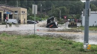 Dump Truck Hits Fire Hydrant In Hays, Causes Major Flooding