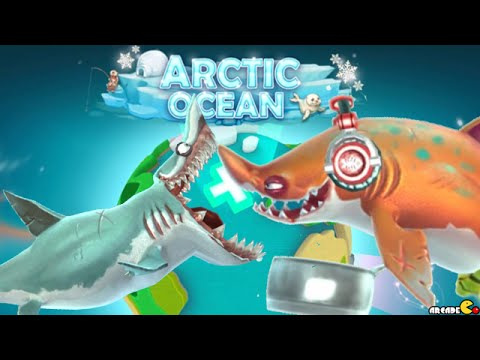 hungry shark world new arctic map and large sharks