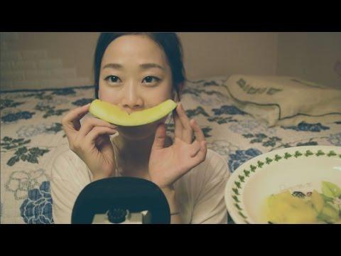 [한국어ASMR] 노란 수박을 사각사각 이팅사운드 Yellow Watermelon Eating Sound