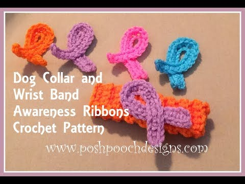Dog Collar And Wrist Band Awareness Ribbons Crochet Pattern Youtube