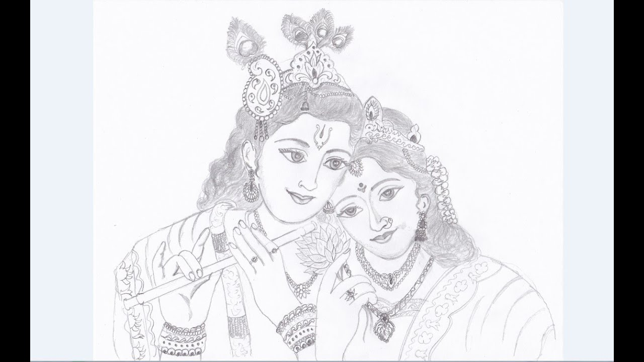 Drawing of krishna and radha