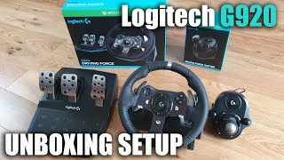 Unboxing and setup of a Logitech G920 steering wheel for a XBOX/PC for Beginners