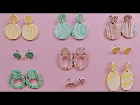 9 EASY | DIY Clay Marbled Earrings