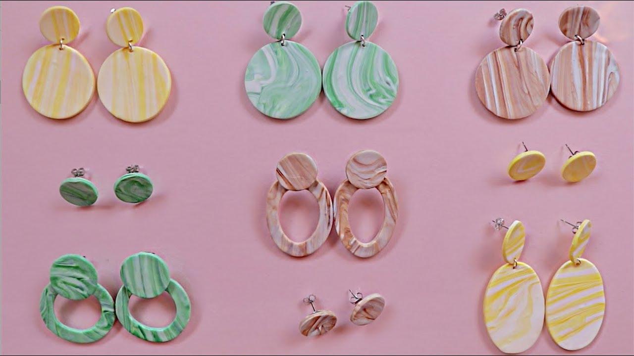 Large Stacked Circles Colorful Textured Earrings Polymer Clay Earrings Lightweight Earrings Statement Earrings Modern Earrings