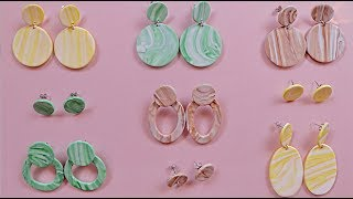 9 EASY | DIY Clay Marbled Earrings