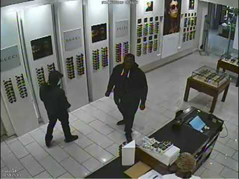 Two suspects in sweatshirts browsed at Solstice at the Stamford Town Center, then ran out with $7,400.00 worth of glasses, police said.